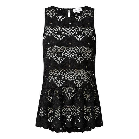 Lace Peplum Top  BLACK  hi-res
