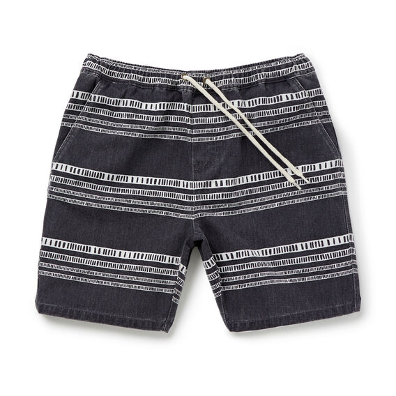 Linear Print Short  WASHED BLACK  hi-res