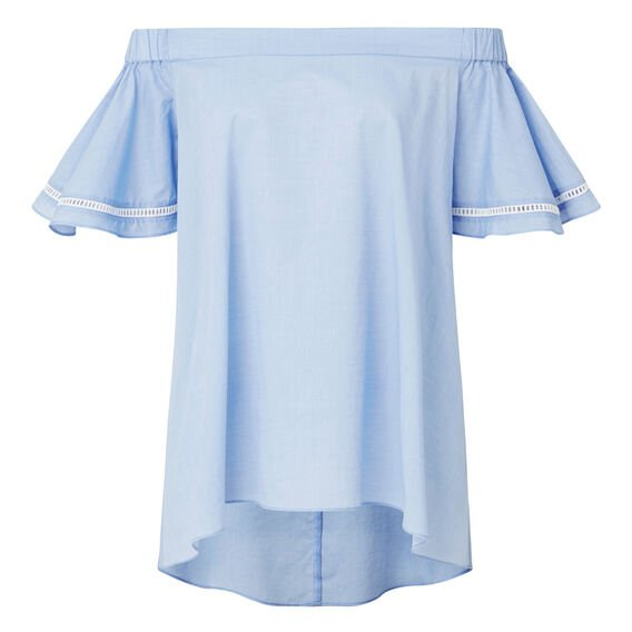 Off Shoulder Chambray Top  SOFT BLUE CHAMBRAY  hi-res