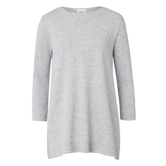Double Jersey A-Line Top  MID GREY MARLE  hi-res