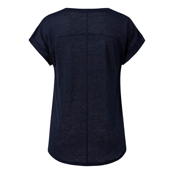 V Neck Linen Tee  INK BLUE  hi-res