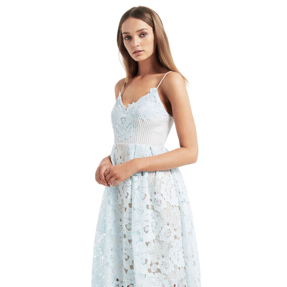 Lace Peplum Dress  ICE BLUE  hi-res