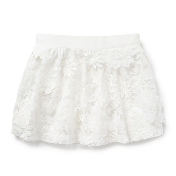 Floral Lace Skirt  WHITE  hi-res