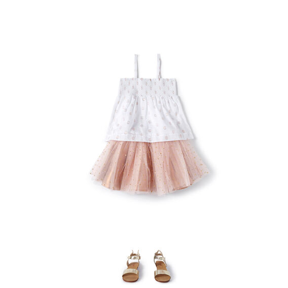 Spot Smocked Top  ROSE GOLD  hi-res