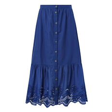 Lace Button Through Skirt  DEEP WATER BLUE  hi-res