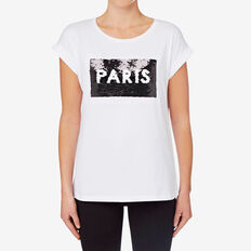 Sequin Novelty Tee  BRIGHT WHITE  hi-res