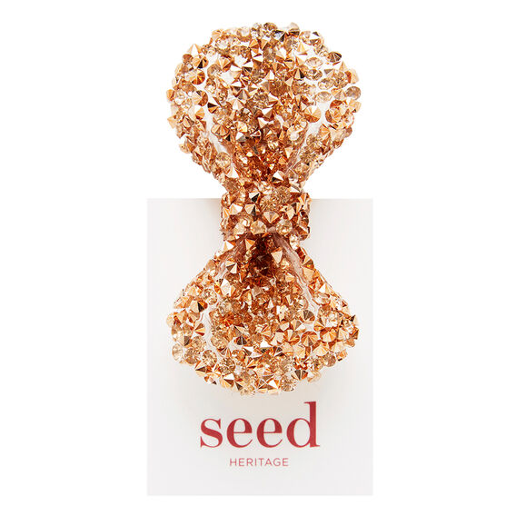 Jewelled Bow Clip  ROSE GOLD  hi-res
