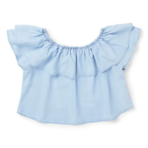 Off-Shoulder Ruffle Top  SUNBLEACHED CHAMBRAY  hi-res