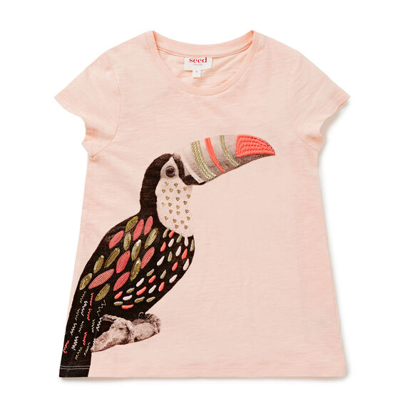 Embellished Toucan Tee  FUZZY PEACH  hi-res