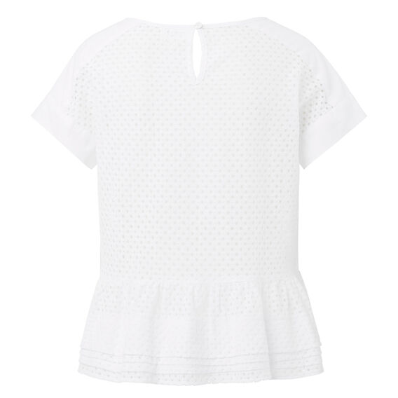 Broderie Frill Top  WHITE  hi-res