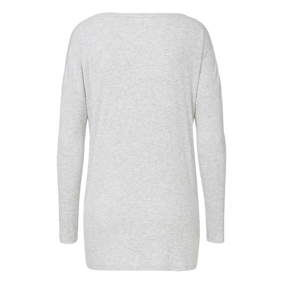Seam Detail Rib Long Sleeve Tee  LIGHT GREY MARLE  hi-res
