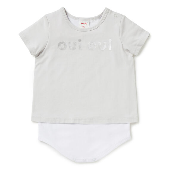 'Oui Oui' Layer Bodysuit  DOVE GREY  hi-res