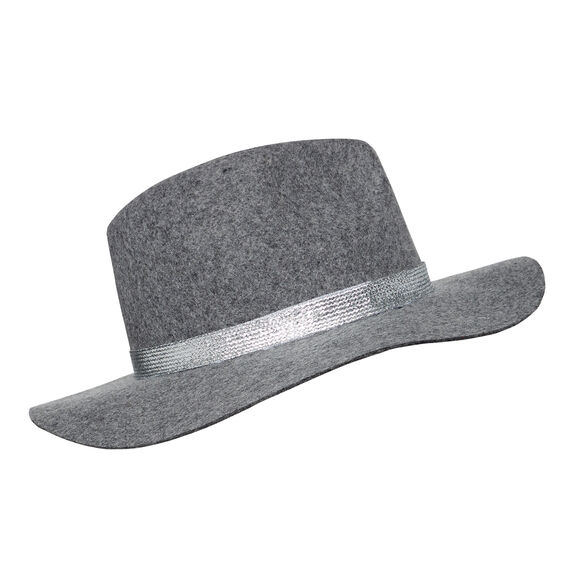 Metallic Trim Felt Fedora  GREY MARLE  hi-res