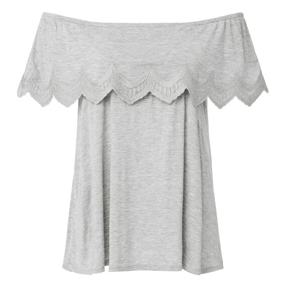 Embroidered Frill Top  CHARCOAL GREY MARLE  hi-res