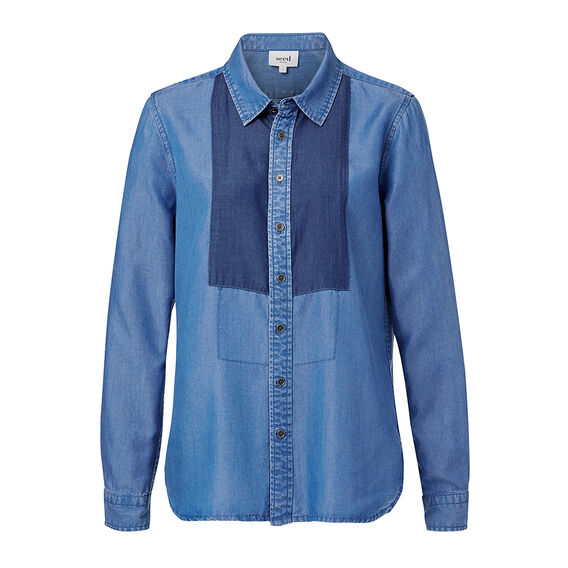 Tencel Shirt  MID BLUE TENCEL  hi-res