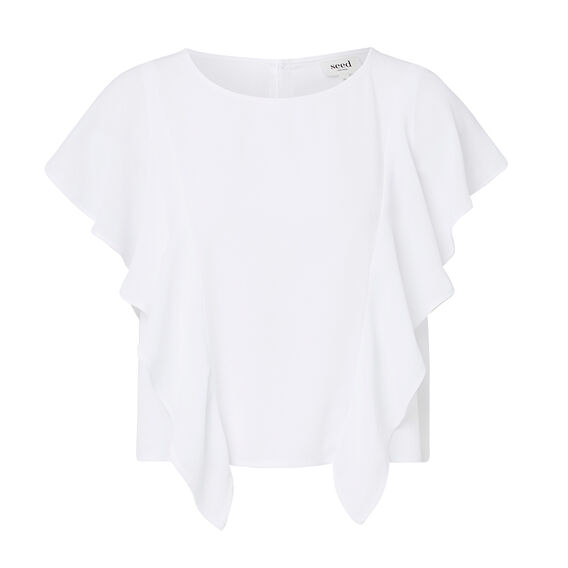 Textured Frill Top  WHITE  hi-res