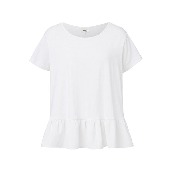 Dipped Frill Tee  WHITE  hi-res