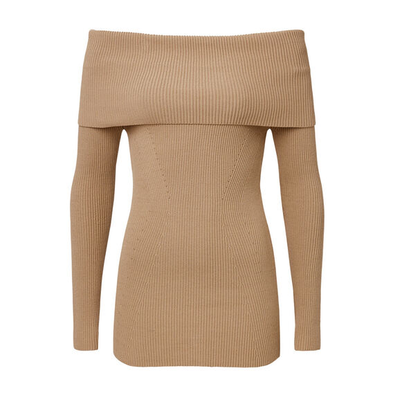 Off Shoulder Knit  CARAMEL  hi-res