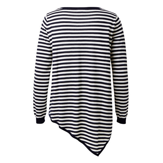 Asymmetrical Sweater  DEEP NAVY/WHT STRIPE  hi-res