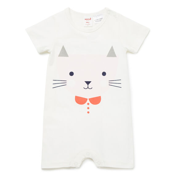 Cat Face Romper  CANVAS  hi-res