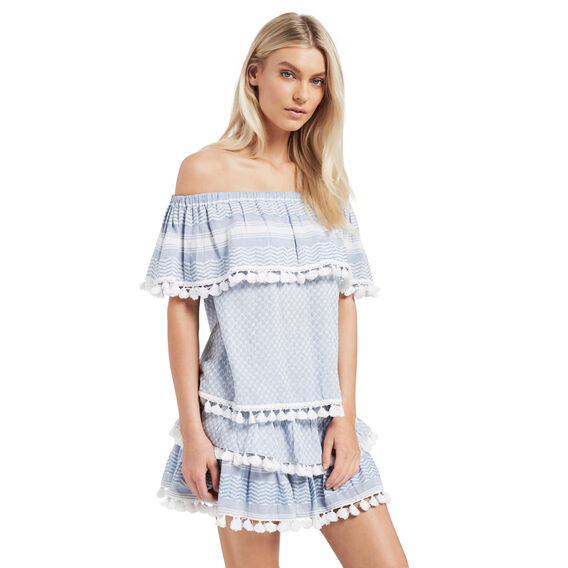 Textured Frill Top  ICE BLUE CHAMBRAY  hi-res