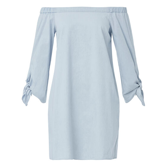 Off Shoulder Tie Dress  ICE BLUE CHAMBRAY  hi-res