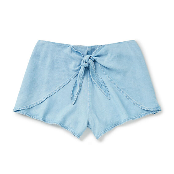Tie Front Short  SUNBLEACHED CHAMBRAY  hi-res