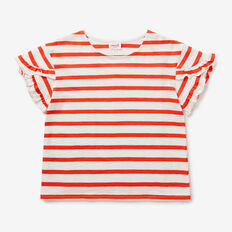 Stripe Frill Tee  POPPY RED  hi-res