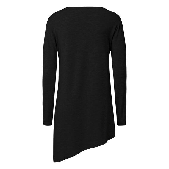 Asymmetric Long Sleeve Tee  BLACK  hi-res