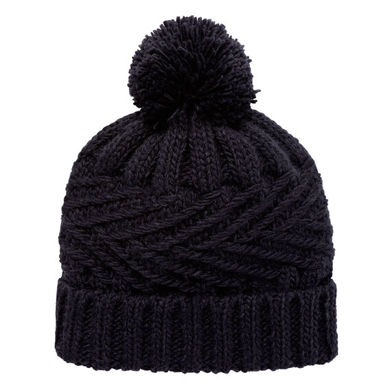 Fold Over Cable Beanie  NAVY  hi-res