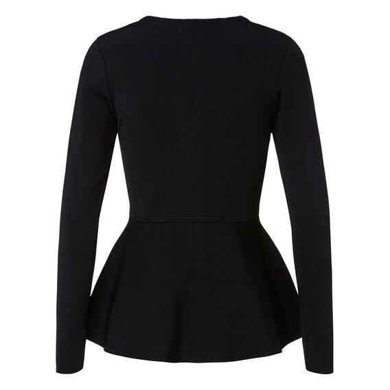Crepe Zip Peplum Sweater  BLACK  hi-res