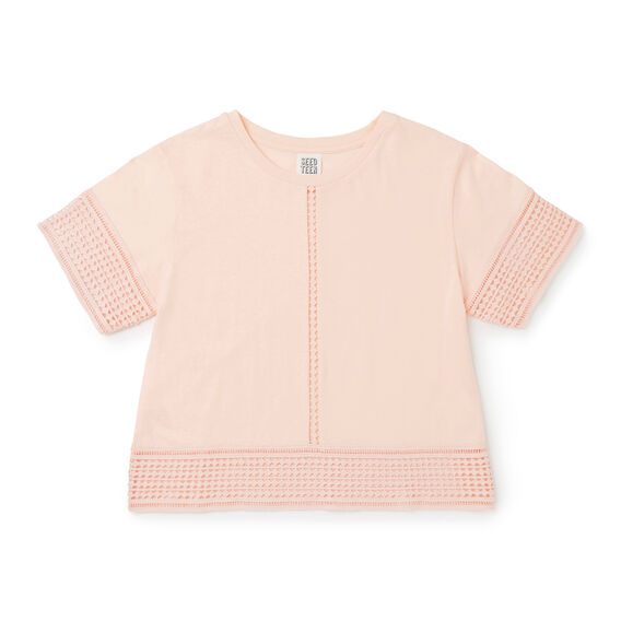 Crochet Trim Tee  FUZZY PEACH  hi-res