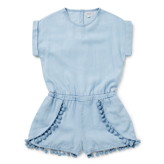 Chambray Pom Pom Playsuit  SUNBLEACHED CHAMBRAY  hi-res