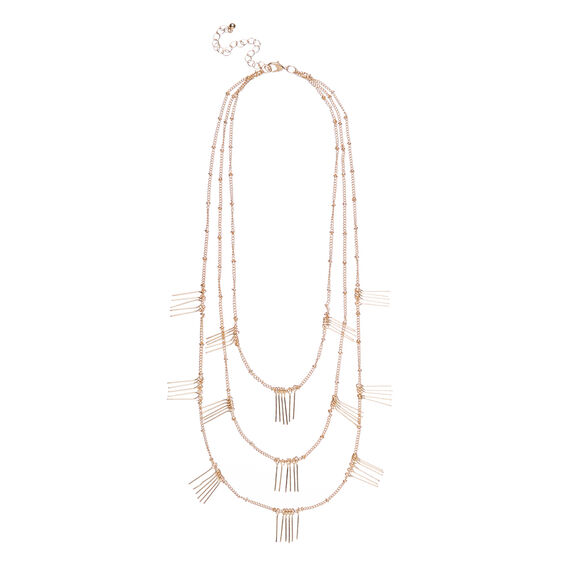 Fringed Layered Necklace  GOLD  hi-res