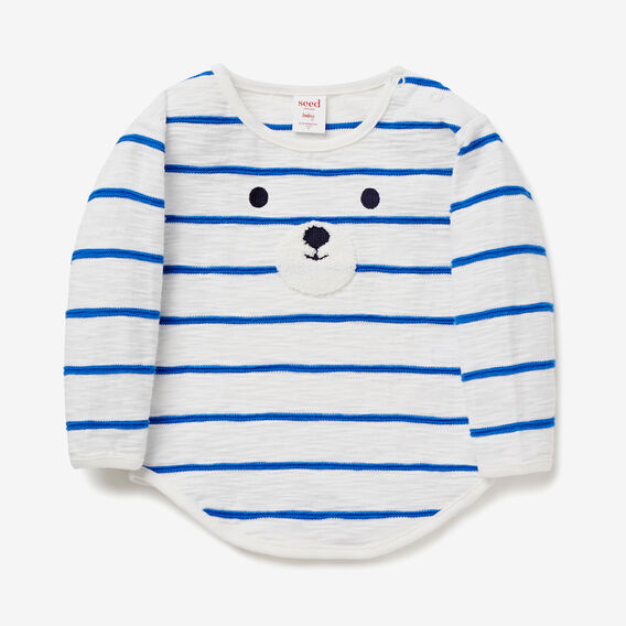 Stripe Bear Face Tee  VINTAGE WHITE  hi-res
