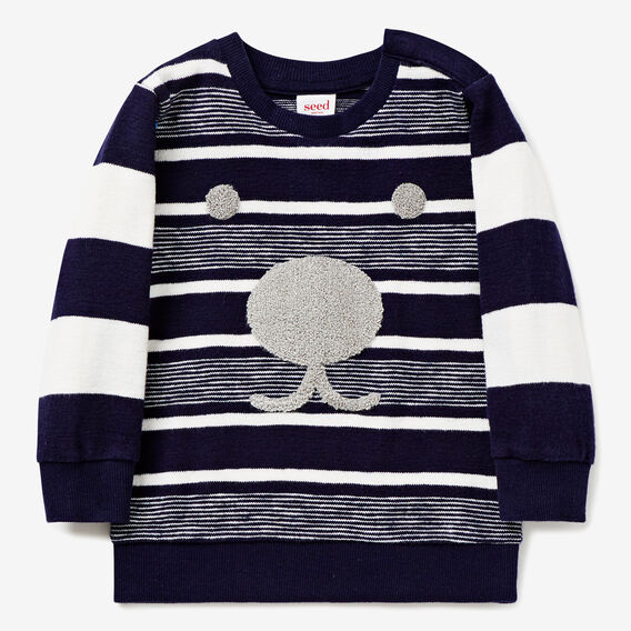 Slub Stripe Crew Sweater  MIDNIGHT BLUE  hi-res