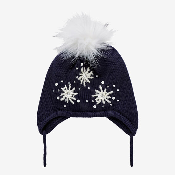 Snow Flower Beanie  NAVY  hi-res
