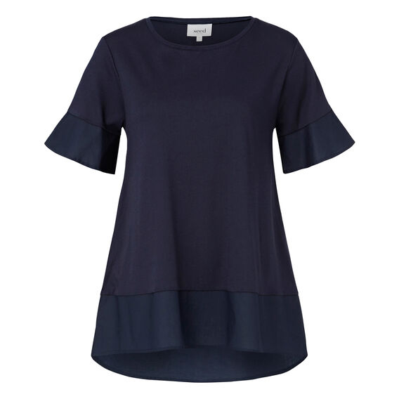 Woven Splice A-Line Tee  INK BLUE  hi-res
