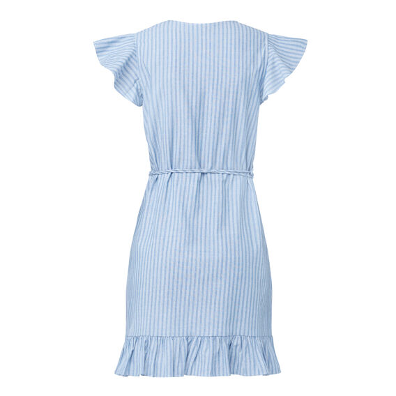 Stripe Frill Wrap Dress  STRIPE  hi-res