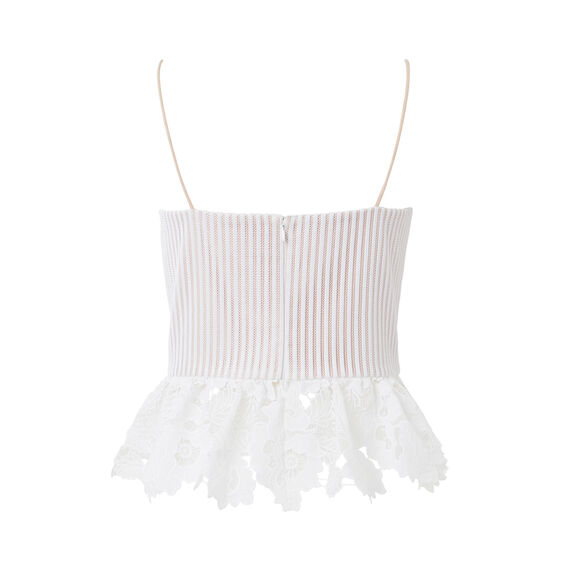 Lace Frill Top  WHITE  hi-res