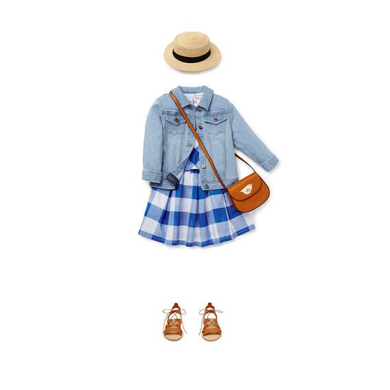 Gingham Double Layer Dress  ROYAL BLUE  hi-res