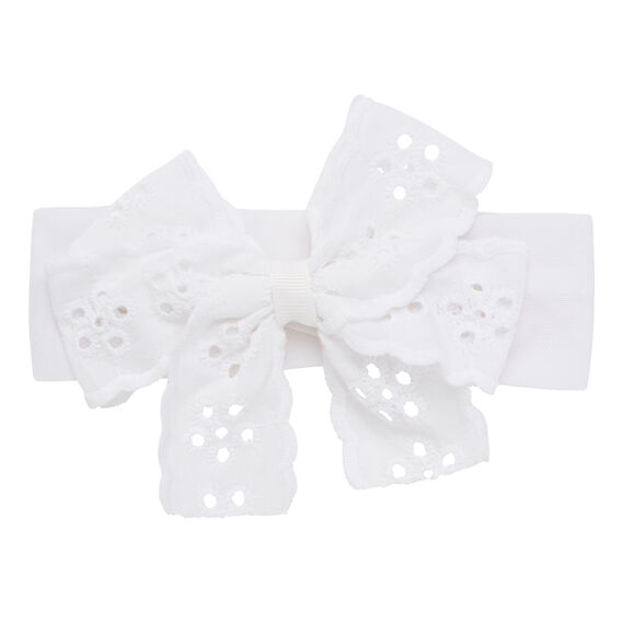 Broderie Bow Headband  WHITE  hi-res