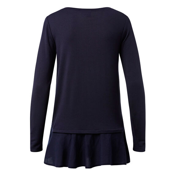 Frill Hem Top  INK BLUE  hi-res