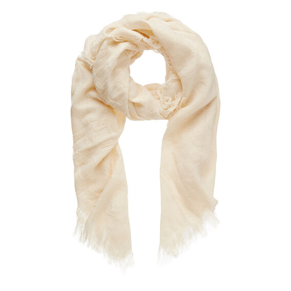 Textured Grid Scarf  CREAM  hi-res