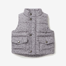 Nylon Pocket Puffa Vest  CEMENT MARLE  hi-res