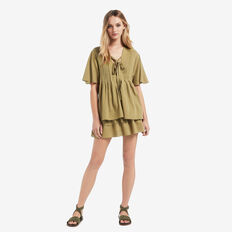 Pleated Flutter Top  FERN GREEN  hi-res