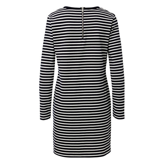 Long Sleeve Stripe Dress  DEEP NAVY/WHT STRIPE  hi-res