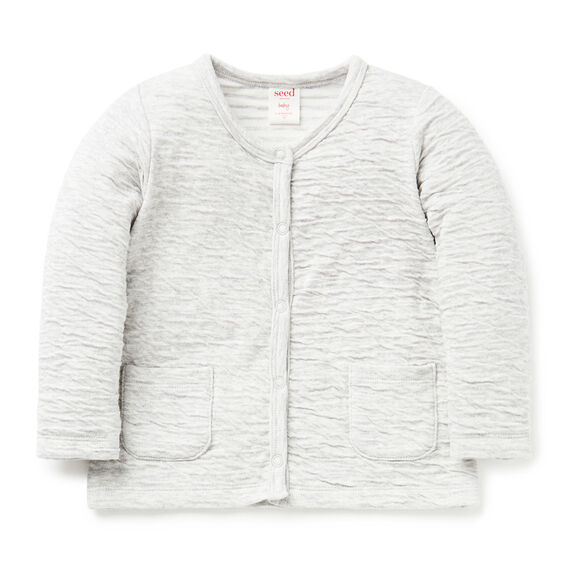 Double Knit Jersey Cardigan  FOG GREY MARLE  hi-res