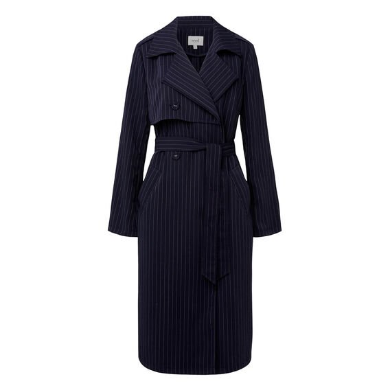Pinstripe Trench  INK BLUE  hi-res