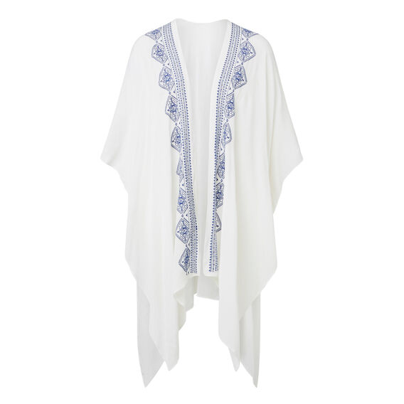 Stitch Detail Poncho  WHITE  hi-res